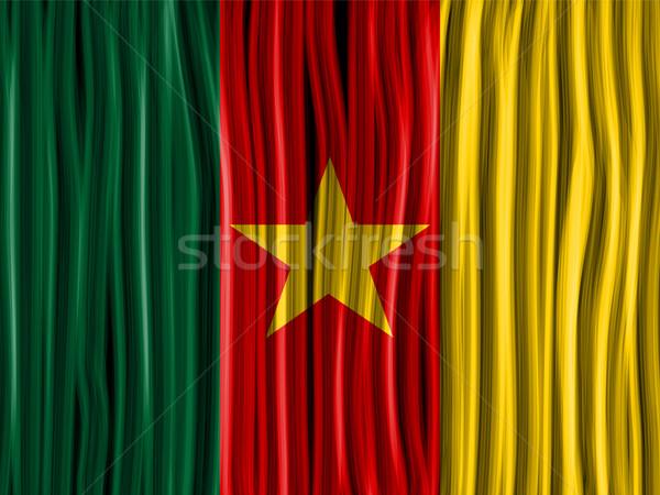 Камерун флаг волна ткань текстуры вектора Сток-фото © gubh83