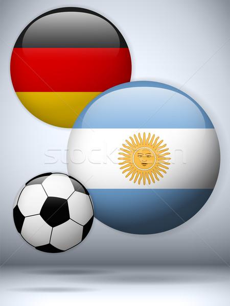 Foto stock: Argentina · Alemanha · bandeira · futebol · jogo · vetor