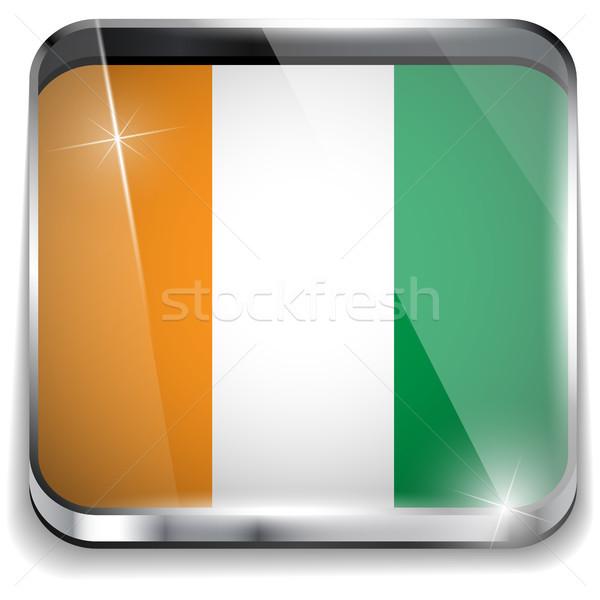 İrlanda bayrak uygulama kare düğmeler Stok fotoğraf © gubh83