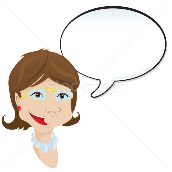 Mujer anuncio bocadillo nina signo Foto stock © gubh83