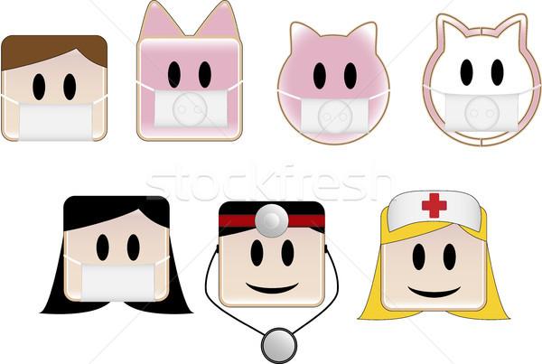 Sertés influenza ikonok orvos nők kórház Stock fotó © gubh83
