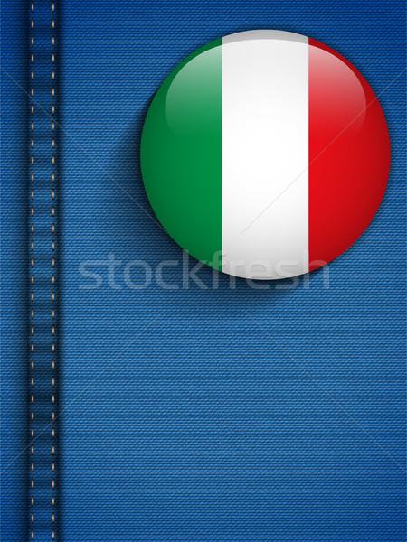 Włochy banderą przycisk dżinsy kieszeni wektora Zdjęcia stock © gubh83