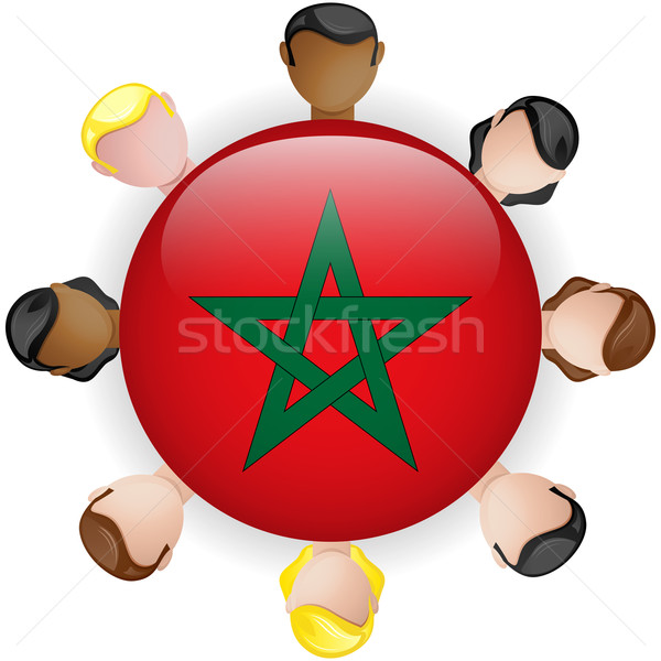 Morocco Flag Button Teamwork People Group Stock photo © gubh83
