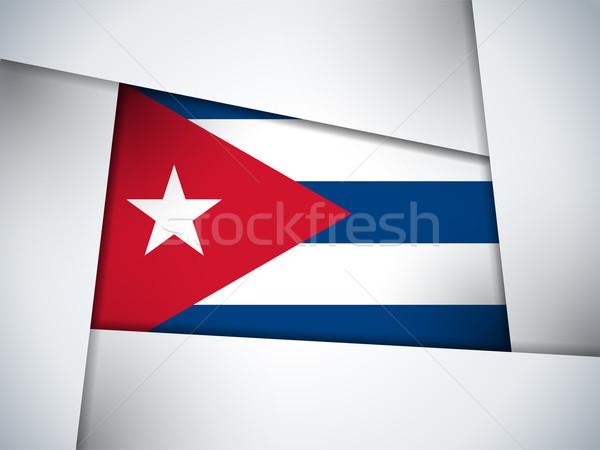 Kuba vidék zászló mértani vektor üzlet Stock fotó © gubh83