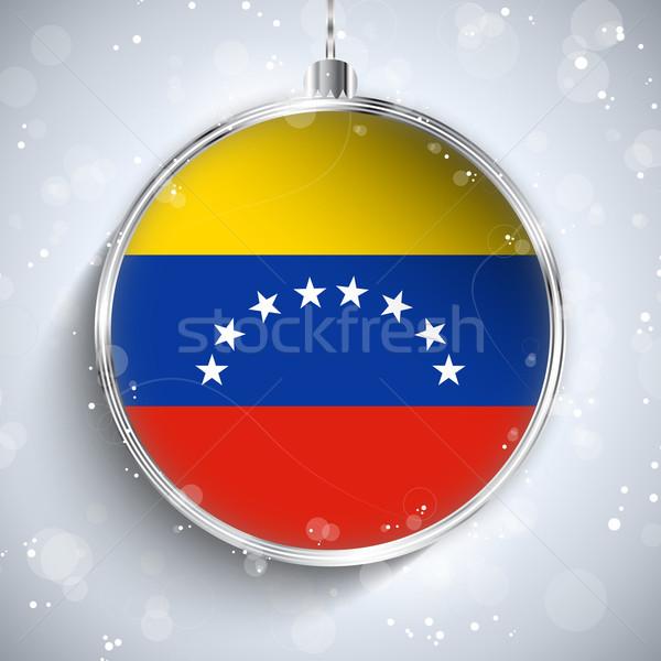 Alegre natal prata bola bandeira Venezuela Foto stock © gubh83