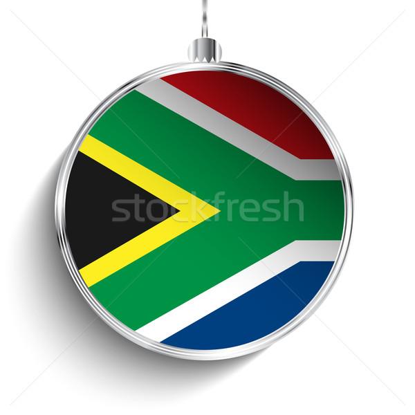 веселый Рождества серебро мяча флаг ЮАР Сток-фото © gubh83