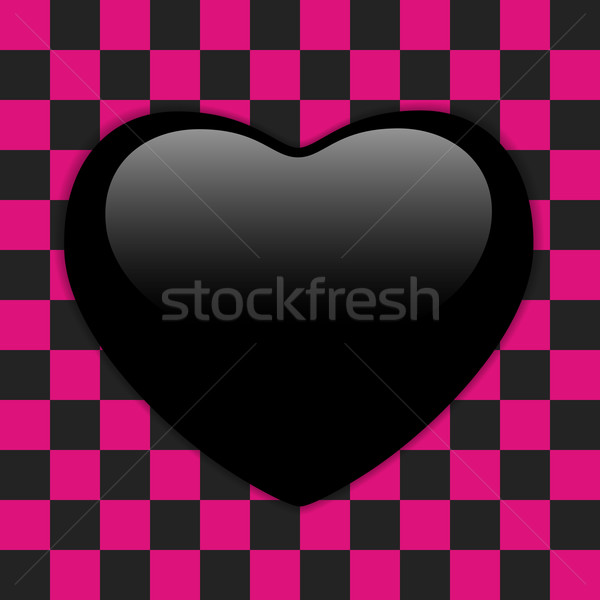 Valentines Day Glossy Emo Heart. Pink and Black Checkers Stock photo © gubh83