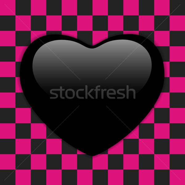 Valentin nap fényes szív rózsaszín fekete vektor Stock fotó © gubh83