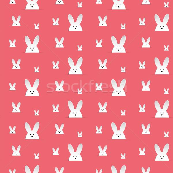 Vrolijk pasen konijn bunny roze naadloos vector Stockfoto © gubh83
