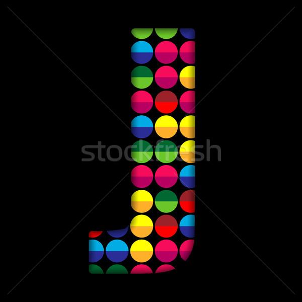 Alphabet Dots Color on Black Background J Stock photo © gubh83