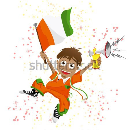 Stock photo: Black Girl Ivory Coast Soccer Fan with flag.
