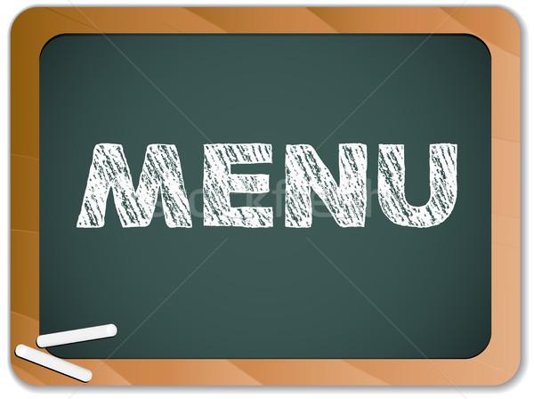 Blackboard with Restaurant Menu Message written with Chalk Stock photo © gubh83