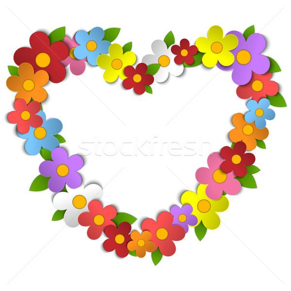 Flower Heart Bouquet Spring Background Stock photo © gubh83