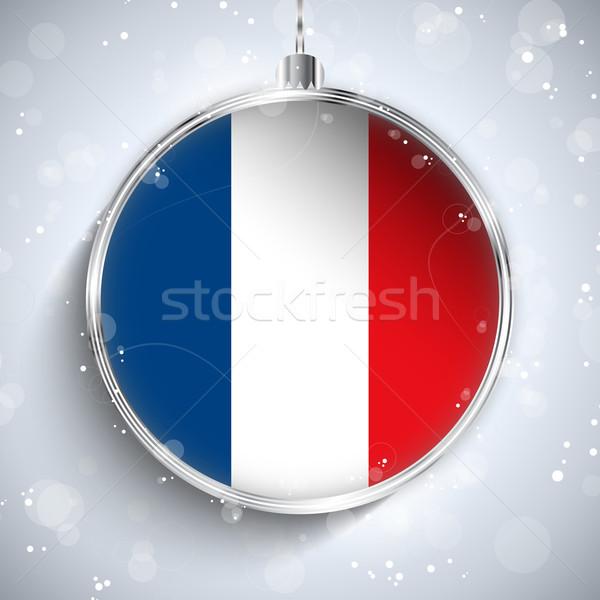 Stockfoto: Vrolijk · christmas · zilver · bal · vlag · Frankrijk