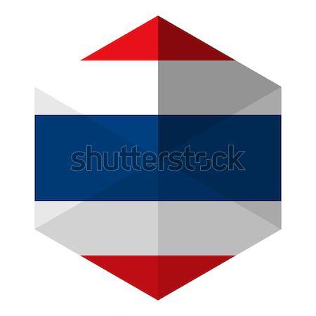 Tailândia bandeira hexágono ícone botão mundo Foto stock © gubh83