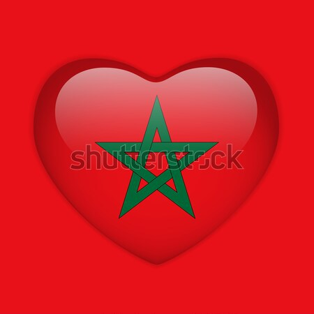 Morocco Flag Heart Glossy Button Stock photo © gubh83