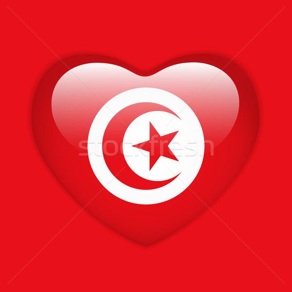Tunisia Flag Heart Glossy Button Stock photo © gubh83