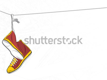 Shoes hanging on wire background. Back to school Stock photo © gubh83