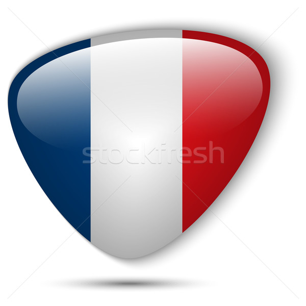 Franciaország zászló fényes gomb vektor üveg Stock fotó © gubh83