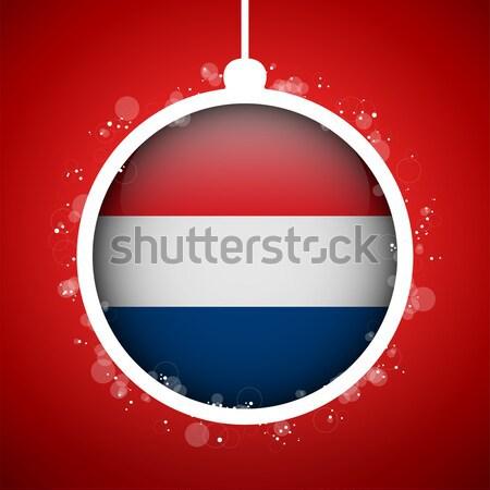 флаг бумаги круга тень кнопки Нидерланды Сток-фото © gubh83