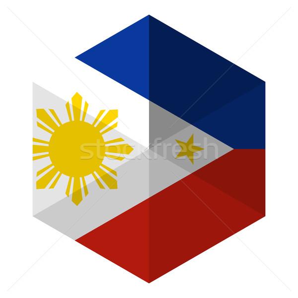 Филиппины флаг шестиугольник икона кнопки Мир Сток-фото © gubh83