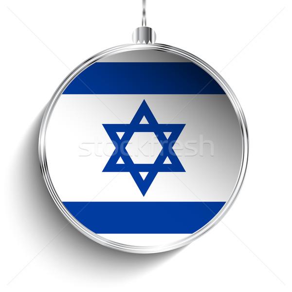Alegre natal prata bola bandeira Israel Foto stock © gubh83