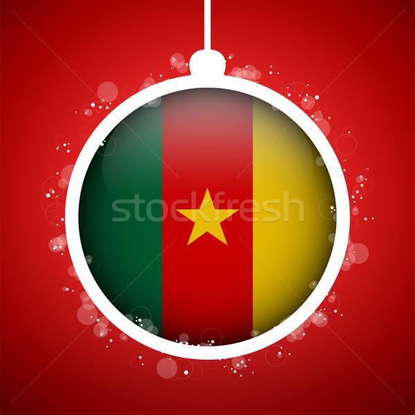 Vrolijk christmas Rood bal vlag Kameroen Stockfoto © gubh83