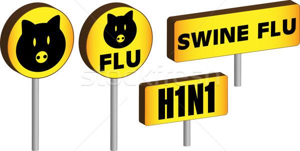 3D influenza segni quattro h1n1 Foto d'archivio © gubh83