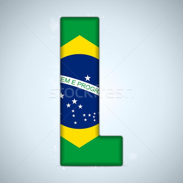 Brazília zászló ábécé levelek szavak vektor Stock fotó © gubh83