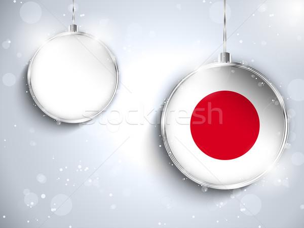 Vidám karácsony ezüst labda zászló Japán Stock fotó © gubh83