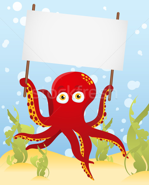 Vector. Octopus holding blank sign Stock photo © gubh83