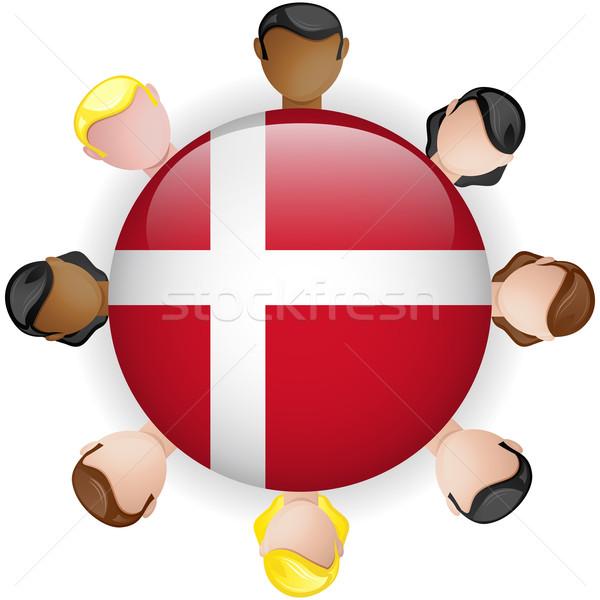 Dania banderą przycisk zespołowej ludzi grupy Zdjęcia stock © gubh83