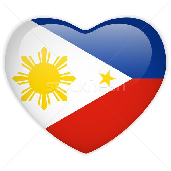 Philippines pavillon coeur bouton vecteur Photo stock © gubh83