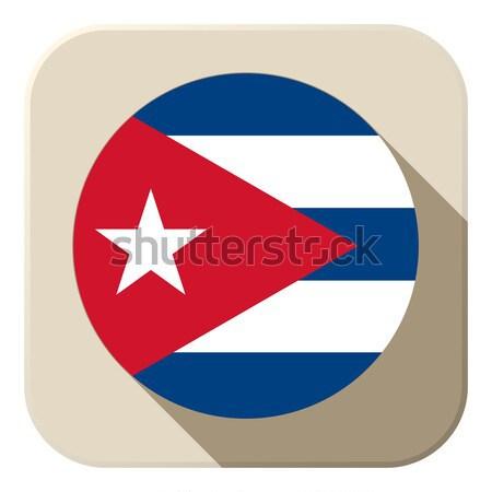 Куба флаг кнопки икона современных вектора Сток-фото © gubh83