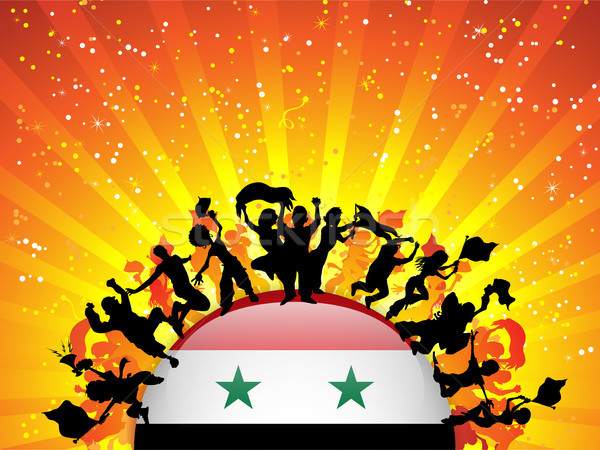 Stock photo: Syria Sport Fan Crowd with Flag