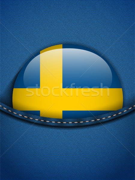 Szwecja banderą przycisk dżinsy kieszeni wektora Zdjęcia stock © gubh83