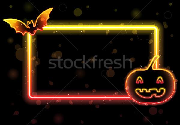 Halloween ışıklar çerçeve bat kabak vektör Stok fotoğraf © gubh83