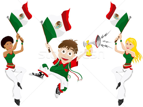 Mexico Sport Fan with Flag and Horn Stock photo © gubh83