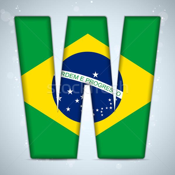 Stockfoto: Brazilië · vlag · alfabet · brieven · woorden · vector