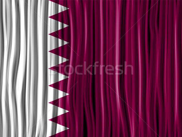 Katar bayrak dalga kumaş doku vektör Stok fotoğraf © gubh83