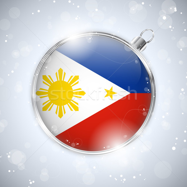 Joyeux Noël argent balle pavillon Philippines Photo stock © gubh83