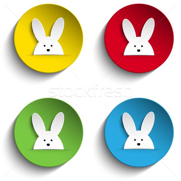 Ingesteld vier vrolijk pasen bunny stickers vector Stockfoto © gubh83