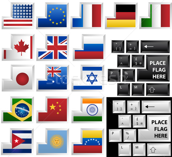 Keyboard with 17 different keys as flags Stock photo © gubh83
