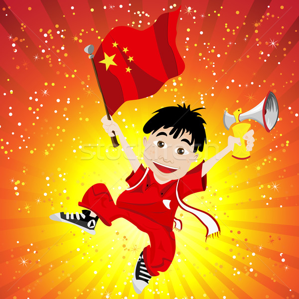 China Sport Fan with Flag and Horn Stock photo © gubh83