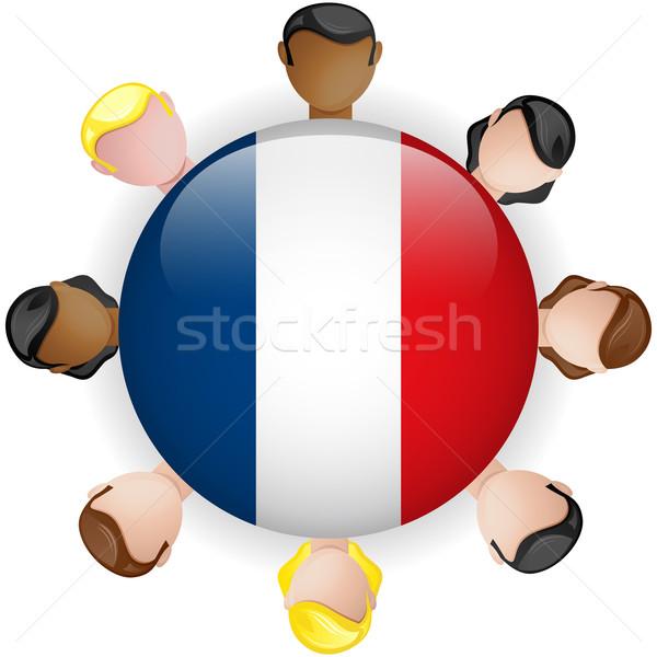 Francja banderą przycisk zespołowej ludzi grupy Zdjęcia stock © gubh83