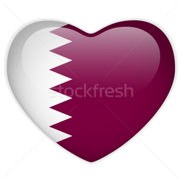 Катар флаг сердце кнопки вектора Сток-фото © gubh83