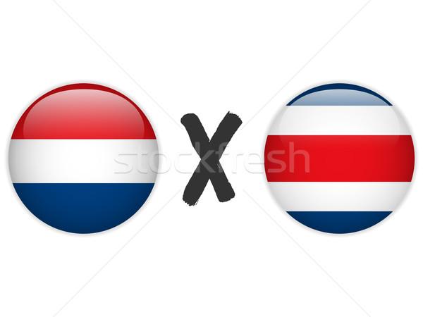 Stockfoto: Nederland · Costa · Rica · vlag · voetbal · spel · vector
