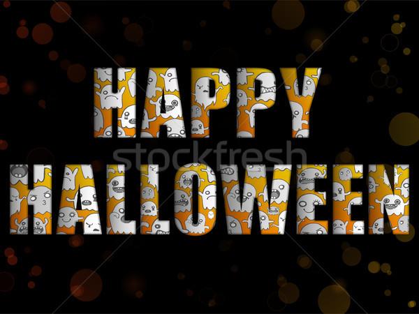 Halloween levelek szellemek vektor boldog háttér Stock fotó © gubh83