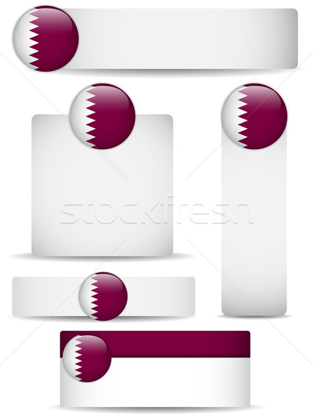 Catar país conjunto banners vetor negócio Foto stock © gubh83