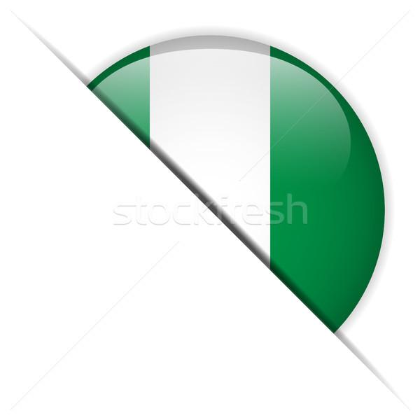 Nigeria banderą przycisk wektora szkła Zdjęcia stock © gubh83